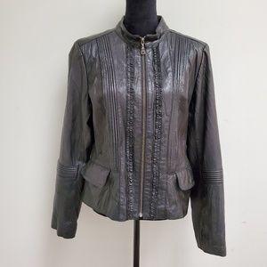 Danier Jackets & Coats - Danier Women Black Leather Jacket Ruffles In Front